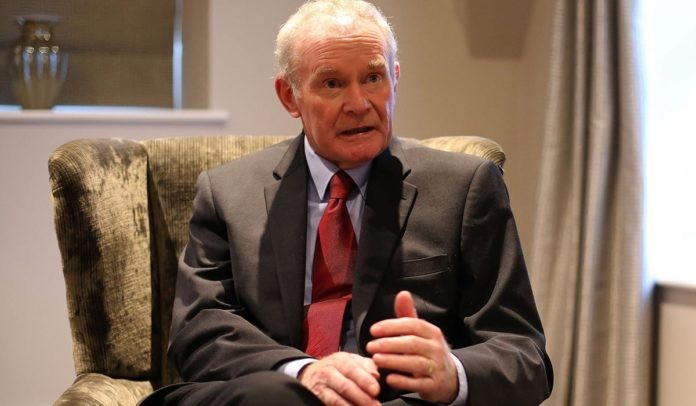 Martin McGuinness speaking to the media following his resignation.