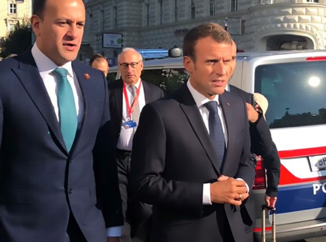 Leo Varadkar with French Prime Minister Emmanuel Macron