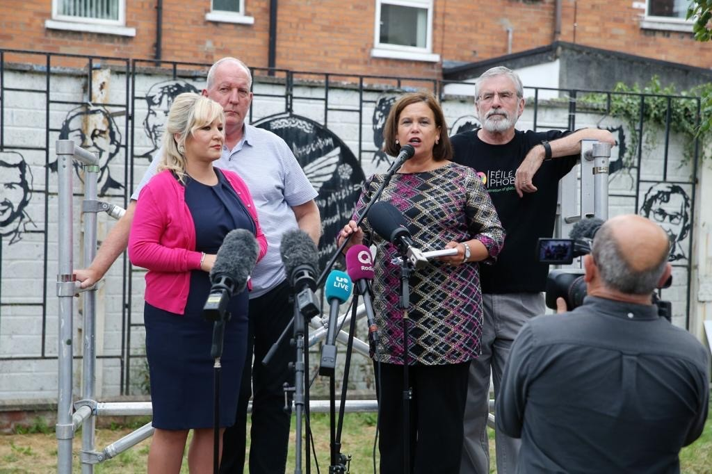 The late Bobby Storey with Mary Lou McDonald, Michelle O'Neill and Gerry Adams.