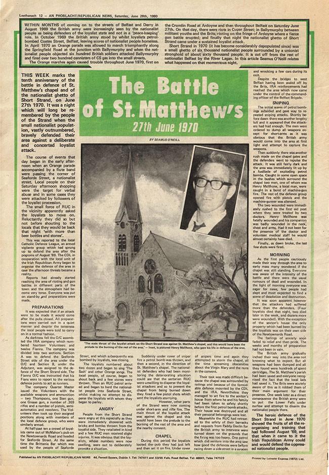 Battle of St Matthews An Phoblacht