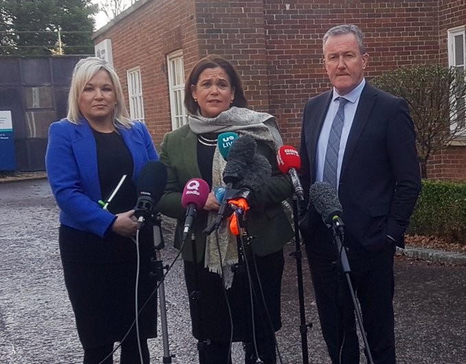 Mary Lou McDonald, Michelle O'Neill and Conor Murphy at Stormont House.