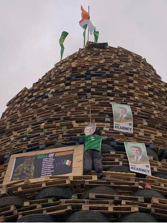 Loyalist bonfire with images of Declan Kearney.