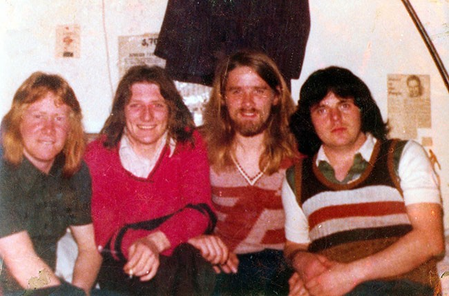 Mick O'Donnell, Bobby Sands, Gerard Rooney and Tomboy Loudon in the Cages of Long Kesh