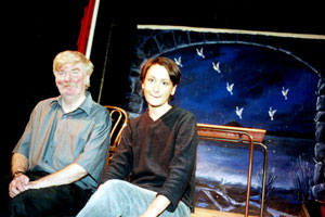 Joe Mulheron, star, and Marcella Ferguson, musician, in Dubbeljoint's production of Peadar O'Donnell