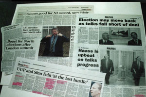 Newspaper headlines on the talks
