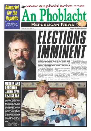 Front page of An Phoblacht