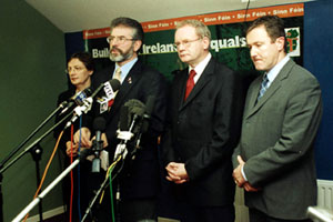 Bairbre de Brún, Gerry Adams, Martin McGuinness and Conor Murphy pictured at a news conference after Trimble reneged