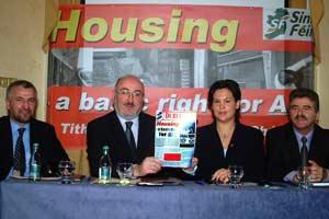 Newry/Armagh Assembly candidate Davy Hyland, Caoimhghín Ó Caoláin TD, Dublin EU election candidate Marylou McDonald and Arthur Morgan TD