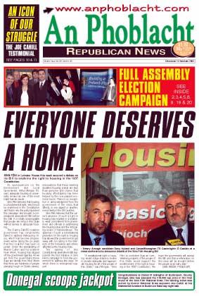 Newry Armagh candidate Davy Hyland and Cavan/Monaghan TD Caoimhghín Ó Caoláin at a news conference to announce details of the Sinn Féin Housing Bill