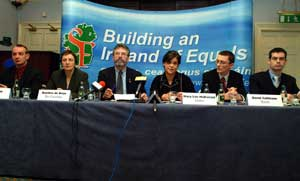 Sinn Féin's five candidates pictured with Gerry Adams