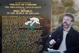 Gerry Adams speaking at the Republican Plot