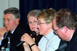 Bernie McNally of Justice for the Forgotten speaks at a news conference last week