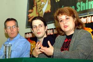 Gerry Kelly, Ogra organiser Mickey Bravender and Cuban ambassador to Ireland Teresita Trujillo at the conference