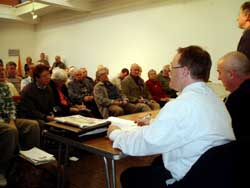 Barry McElfuff addresses the London meeting