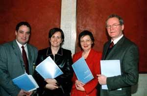 Aengus O Snodaigh, Caitríona Ruane, Bairbre de Brún and Martin McGuinness at the launch of Sinn Féin's Rights for All document