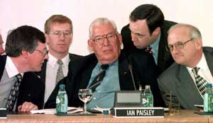 Peter Robinson, Gregory Campbell,  Ian Paisley and Nigel Dodds