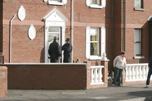 The PSNI raid in the Markets area of Belfast