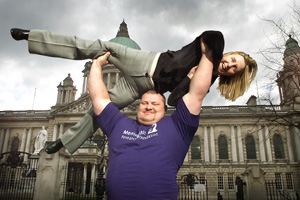 Belfast Council may say no but strong man Glenn Ross was on hand this week to show his support for the St. Patrick's Day carnival and its organiser, Irene Sherry
