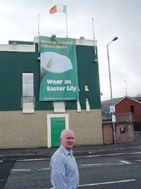 Liam Shannon outside the Felons' Club in West Belfast