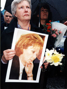 A picket calling for a public inquiry into Rosemary Nelson's killing