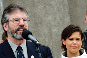 Garry Adams and Mary Lou McDonald at the Dublin Easter Commemoration