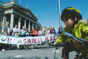 A sponsored cycle in Dublin by anti-racism campaigners last weekend against the referendum