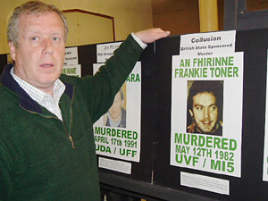 Robert McClenaghan at the An Fhírinne exhibition of victims of collusion
