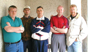 (Left to right) Jerry Sheehy, John Quinn (since released), Mick O'Neill, Pearse McCauley and Kevin Walsh