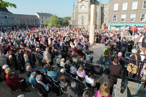 Two thousand people filled Church Square in Monaghan for the unveiling of a new memorial to the victims of the 1974 bombing by British agents