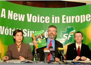 Mary Lou McDonald, Gerry Adams and David Cullinane launch Sinn Féin's EU manifesto