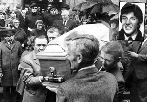The coffin of Michael Gaughan (inset) is carried from Dublin's Procathedral in 1974
