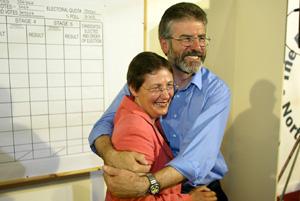 Gerry Adams congratulates Bairbre de Brún on her election as MEP
