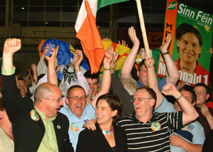 Dublin MEP Mary Lou McDonald celebrates her election with supporters
