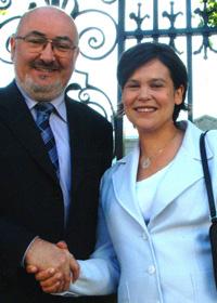 Sinn Féin's first ever MEP is welcomed to the parliamentary group at Leinster House by Caoimhghín Ó Caoláin TD