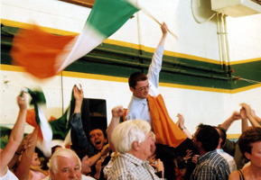 David Cullinane, who polled so well in the South EU constituency, celebrates his election to Waterford City Council with supporters