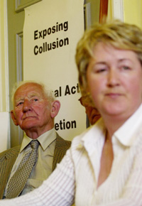 Edward Roice, who lost his daughter, and Bernie McNally, Chair of Justice for the Forgotten and one of those injured in the 1974 massacre, are pictured at the press conference