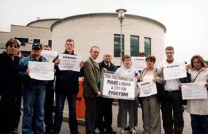 A Sinn Féin picket against Lisburn Council's discriminatory practices