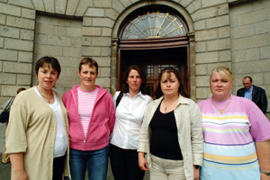 Maura Sherlock, Cllr Brenda McAnespie, Shauna Tierney, Denise Kerr (née Livingstone) and Sharon O'Neill outside the High Court, which heard the appeal for the restoration of Monaghan Hospital's maternity unit