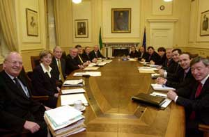 Bertie Ahern's cabinet before Wednesday's reshuffle
