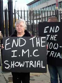 Maura McCrory, whose son is one of the four men facing charges arising out of the alleged abduction of Belfastman Bobby Tohill, is pictured at a picket outside Belfast High Court