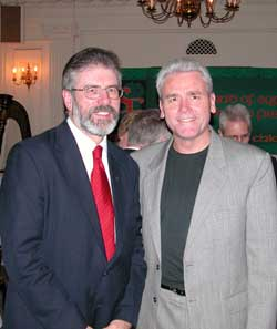 Gerry Adams and General President of the Laborers' International Union of North America, Terence M O'Sullivan, addressed the standing-room-only crowd at a Chicago fundraiser held by Friends of Sinn Féin on Saturday 7 November