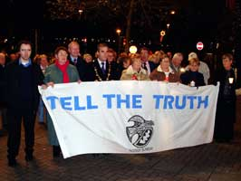 The Bloody Sunday families march in Derry on Tuesday night t mark the end of the public phase of the tribunal and to renew their demand for justice