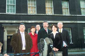 The Sinn Féin delegation outside Downing Street after meeting Tony Blair