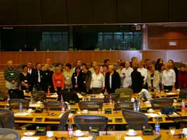 The families in the European Parliament in Brussels