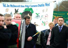 Pat Doherty and Councillor Felix Gallagher on the Martin Savage commemoration