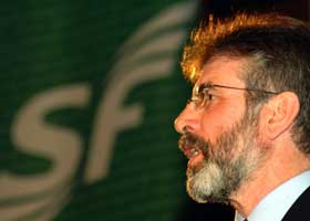 Gerry Adams addresses the SF100 launch