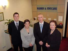 Sinn Féin MEPs Mary Lou McDonald and Bairbre de Brún with John and Martin Finucane