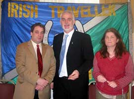 Aengus Ó Snodaigh TD with David Joyce, Legal Development Worker of the Irish Travellers Movement and Marie Joyce of the National Traveller Women's Forum