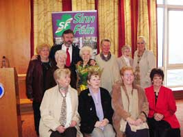 Gerry Adams with Bridget Hannon and other republican women at the exhibition launch