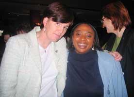 Caitríona Ruane of Sinn Féin and Mavivi Myakayaka-Manzini of the African National Congress at the women's conference